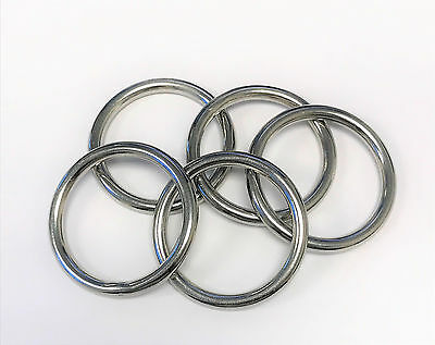 """5pc Set - Stainless Steel T316 Welded Round Rings - 3/16"""""""