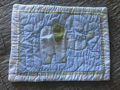Pottery Barn Kids Crib Pillow Sham Elephant Blue Green Preowned