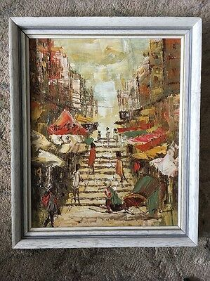 Fantastic Small Knife Oil Painting On Panel. Hong Kong Street Scenery. 287x237mm