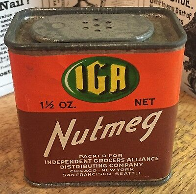 Vintage IGR / Independent Grocers Alliance Nutmeg Spice Tin - Chicago - New York