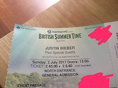 2 Justin Bieber British Summer Time Tickets 2nd July London Hyde Park