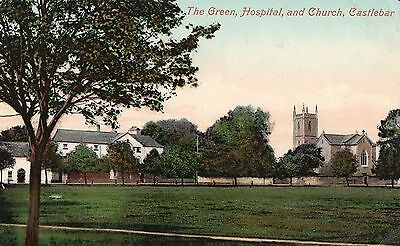 The Green Hospital & Church Castlebar Co. Mayo Ireland Valentines Irish Postcard