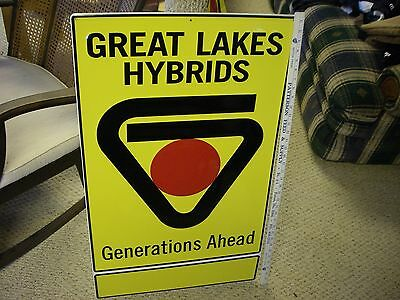 "Nos Great Lakes Seed Sign Embossed Metal 36""x21"" Corn Farm"