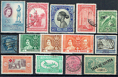 """""""OTHER WORLD"""",  A dozen Late 19th - Mid 20th Century classic stamps, HIGH CV, 12"""