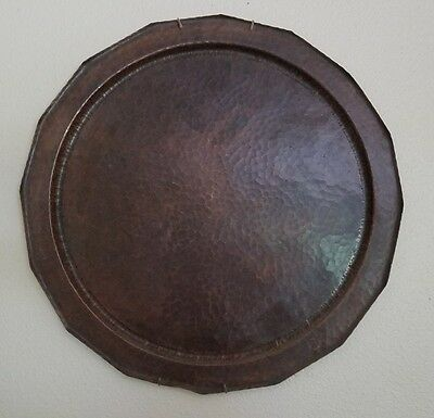 "HUGE 20"" AVON COPPERSMITH PLATTER TRAY Arts & Crafts Roycroft Stickley Era"