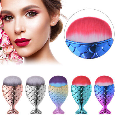 Newest Fishtail Foundation Powder Brush Mermaid Shape Cosmetic Makeup Brushes