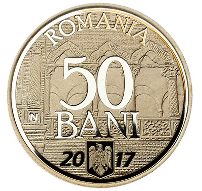 ROMANIA 50 bani 2017 coin ROMANIAN 10 year Joining European UNION Rumänien PROOF