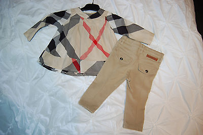 "SUPERBE Ensemble ""Burberry"" Fille 12 mois BLOUSE Tunique + PANTALON JEGGING 1 AN"