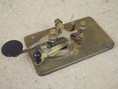 VINTAGE SIGNAL ELECTRIC Co. BRASS TELEGRAPH KEY SOLID BRASS PLATE HAM Morse Code