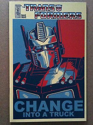 """Transformers #1 Ri Tim Doyle 1:10 """"change Into A Truck"""" Variant Cover Obama 2009"""