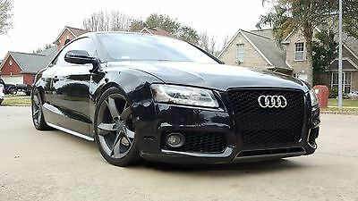 2008-2012 Audi A5 S5 B8 Rs5 Style Euro Black Honeycomb Mesh Grille Chrome Rings