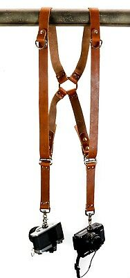 Leather Dual Camera Harness Brown Leather Shoulder Strap Leather Camera Harness