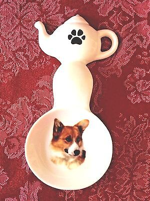 New Pembroke Welsh Corgi Handmade Ceramic Porcelain Tea Bag Holder Spoon Rest
