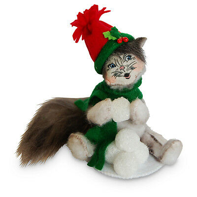 """Annalee Snowball Kitty Cat Collectible Figurine 4""""h 2016 New"""