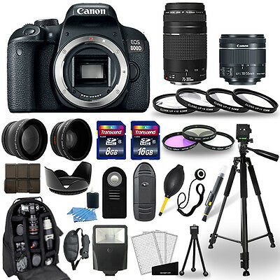 Canon EOS 800D DSLR Camera + 18-55mm STM + 75-300mm + 30 Piece Accessory Bundle