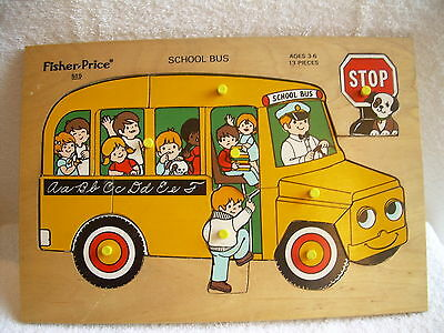 Vintage 70s Fisher-Price Wooden Puzzle #515: School Bus - USED