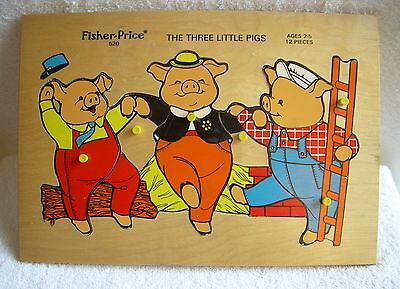 Vintage 70s Fisher-Price Wooden Puzzle #520: The Three Little Pigs - USED