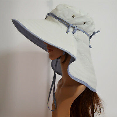 White Woman Wide Brim UV Protection Sun Hats Outdoor Folding Hiking Fishing Caps
