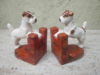 Delightful pair of vintage china terrier bookends.