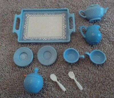 BARBIE KEN DOLL HOUSE KITCHEN DINING FOOD DISHES - 10pc BLUE TEA SET w/ TRAY