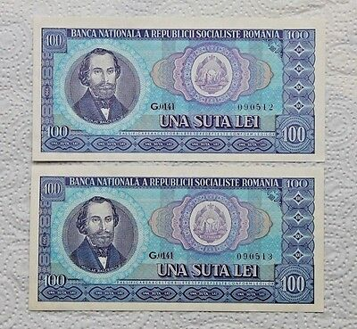 ROMANIA  100 LEI 1966  Lot 4 Banknotes UNC Two Series Consecutive