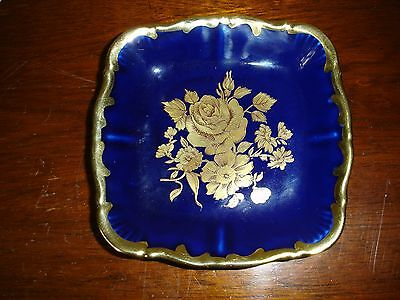 A Beautiful Royal Bavarian  Kpm Cobalt Blue And Gold Painted Porcelain Dish