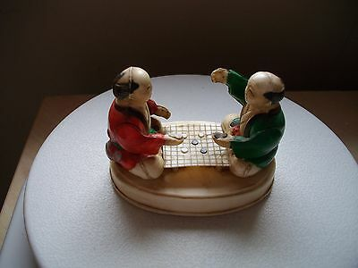 Japanese Figures Playing Chequers in Celluloid c1920's