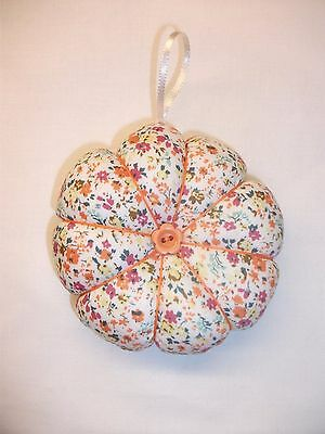 Pin Cushion 10cm Flower/Pumpkin style. Hand crafted, New. Gift Idea