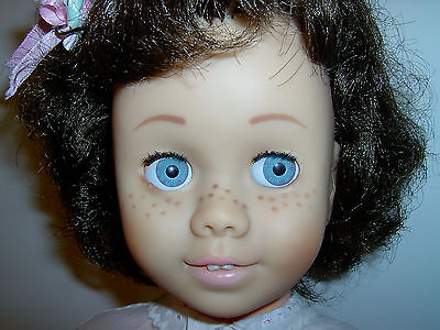CHATTY CATHY doll brunette CANADIAN GLASSINE EYES