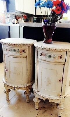 2 Shabby chic night stands distressed white, all wood, drawers,.carvings