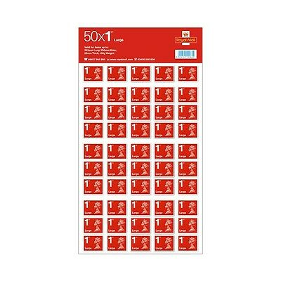 NEW 50 x Large Letter Royal Mail First 1st Class Self Adhesive Stamp Sheet SALE