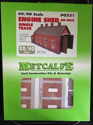 Metcalfe PO331. Engine Shed Red Brick. Single Track Ready Cut Card Kit OO Scale.