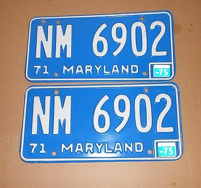 ORIGINAL MATCHING PAIR 1971 MARYLAND LICENSE PLATES w/ 1975 STICKERS - NICE!