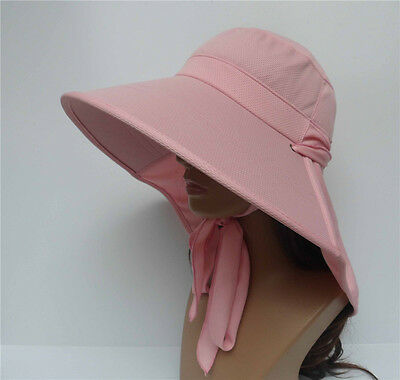Pink New Women Wide Brim Sun Hat Outdoor Windproof Hiking Riding Fishing Caps