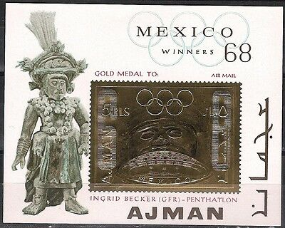 1968 MEXICO CITIES Ajman Olympic GOLD s/s MNH