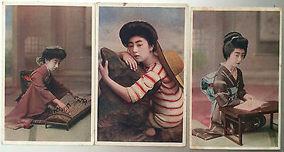 Lot of 3, Young GEISHA Women plays Music, Reads, Bather, JAPAN Post Card 1914