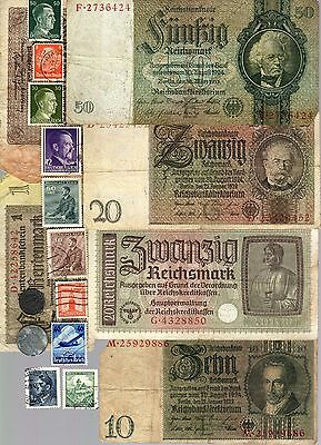 Nazi Germany Banknote, Coin, Poster And Stamp Set   * L *