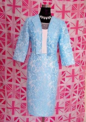 Mother Of The Bride Wedding Dress & Jacket Suit Size 10 / 12 Pool Blue