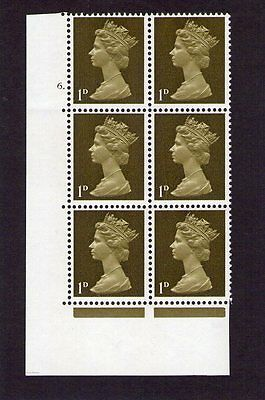 GB = 1967 =SG 724=1d CYLINDER 6 Dot=UNMOUNTED MINT