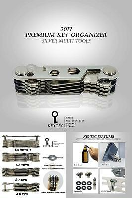 Compact Key Organizer By Keytec (12-16 Keys) - Premium Key Holder With Built-In
