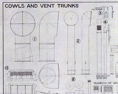 Cowels And Vent Trunks Plan For Model Ships Drawn By David Macgregor 1958