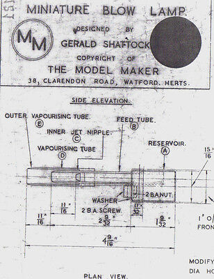 Minature Blow Lamp For Model Ship Plan By Gerald Shaftock The Model Maker