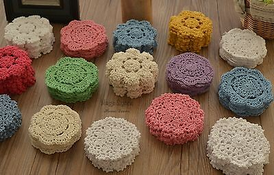 """Lot 60 Hand Crochet 4"""" Round Small Doilies Set Floral Snowflake"""