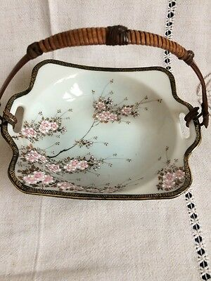 Antique Japanese Porcelain Dish with Wicker Handle