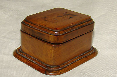 Antique Carved Wood Treenware Ring Jewel Box