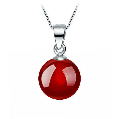 New popular 925 Silver Collarbone Necklace Red agate Pendant Elegant Girls gift