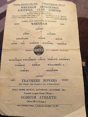 Wrexham V Tranmere Rovers 45/46 War Time