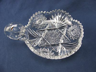 "American Brilliant Period Cut Glass Nut or Candy Dish with Handle - 7.25""L x 6""W"