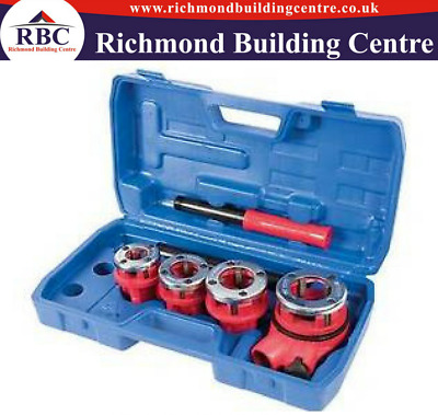 Pipe Threading Kit 5Pce Cast-Iron Die Heads With 4 Alloy Steel Chasers Per Head