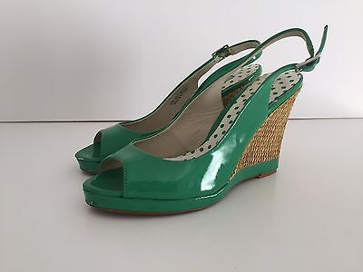 NEXT Green Patent Peep Toe Summer Party Wedge Heels - Size 6/39